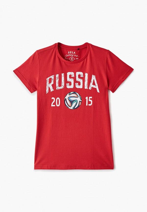 футболка с коротким рукавом sela для мальчика, красная