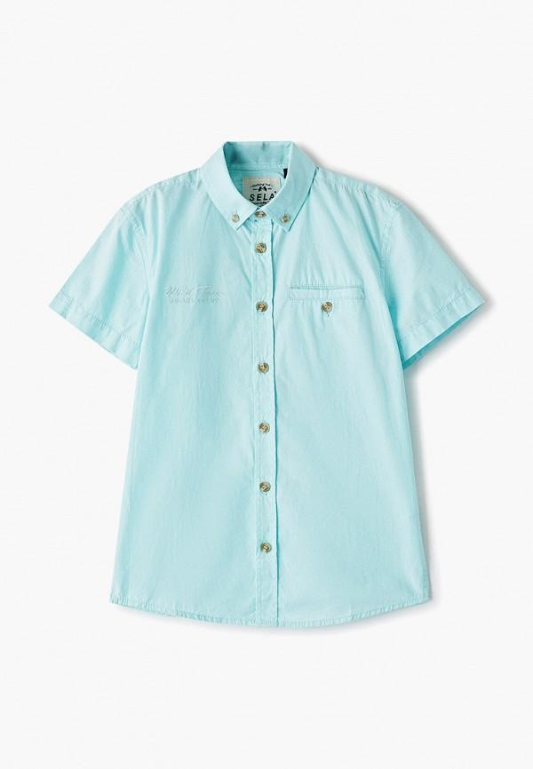 рубашка sela для мальчика, бирюзовая