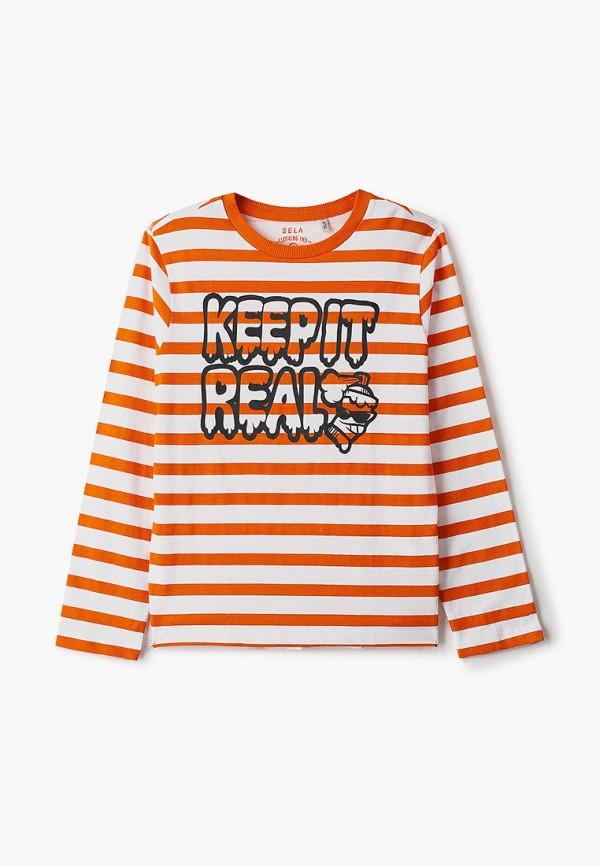 лонгслив sela для мальчика, оранжевый