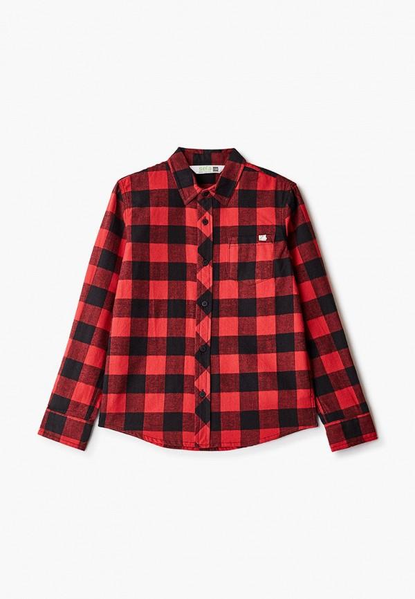 рубашка sela для мальчика, красная