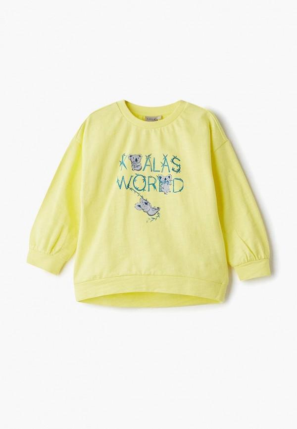 свитшот sela для девочки, желтый