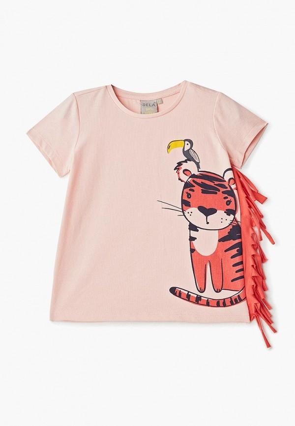 футболка с коротким рукавом sela для девочки, розовая