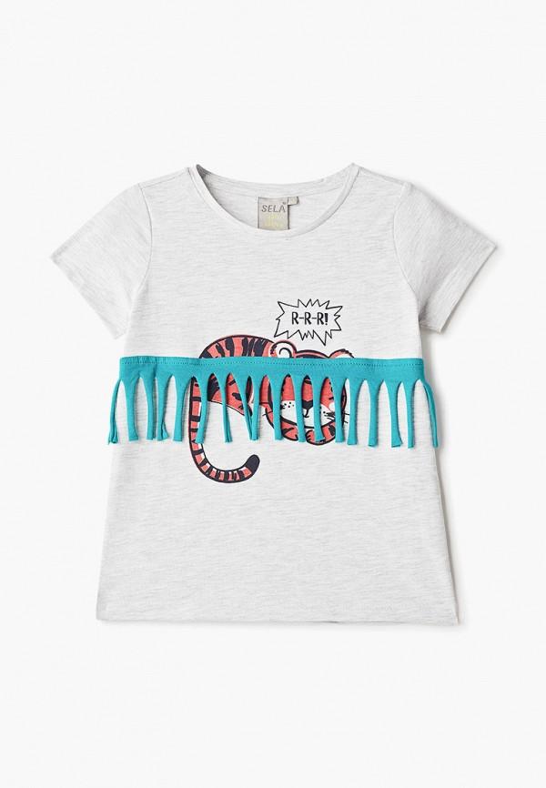 футболка с коротким рукавом sela для девочки, серая