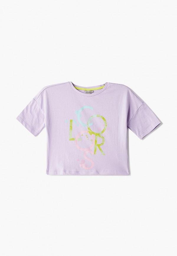 футболка с коротким рукавом sela для девочки, фиолетовая