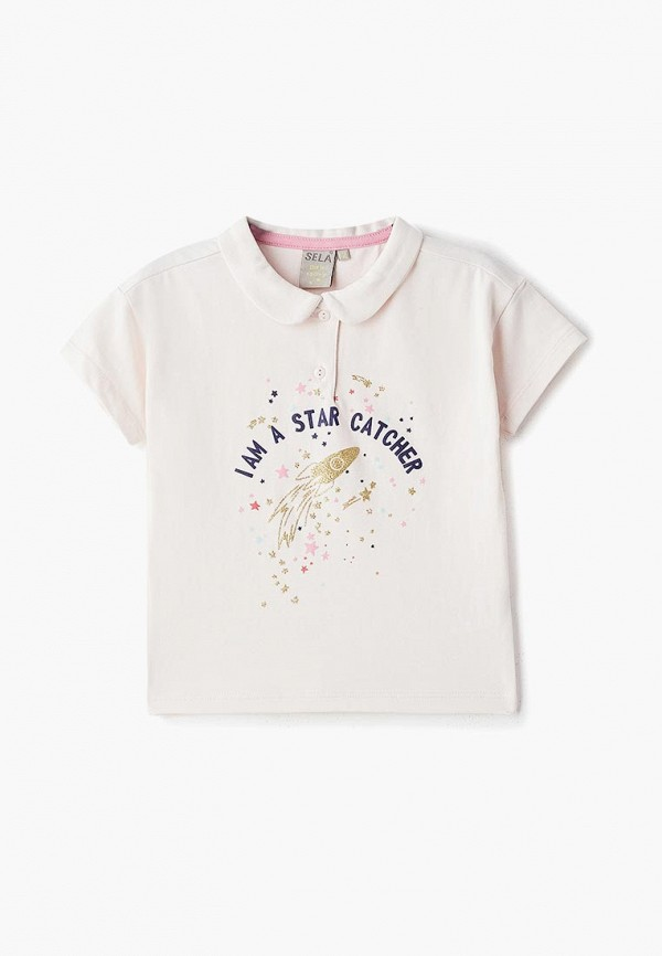 поло sela для девочки, розовое