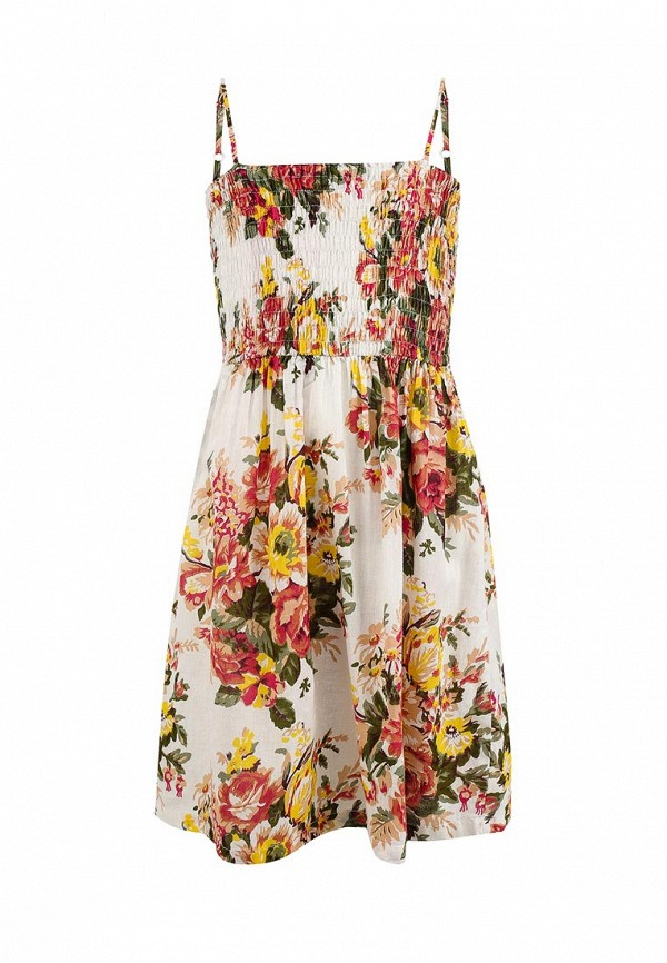повседневные платье sela для девочки, бежевое