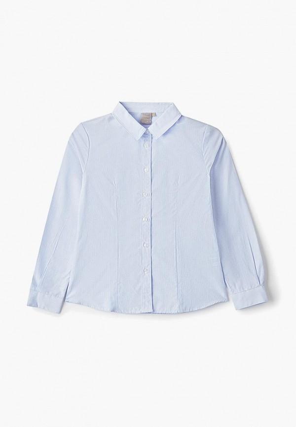 блузка sela для девочки, голубая