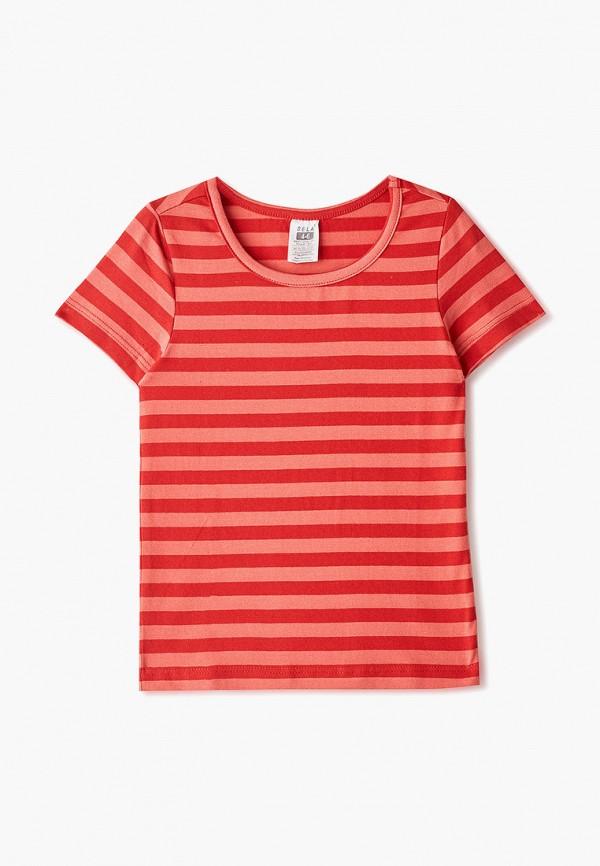 футболка sela для девочки, красная