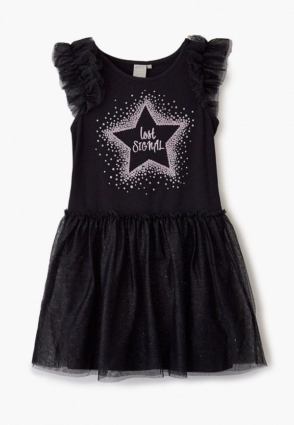 платье sela для девочки, черное