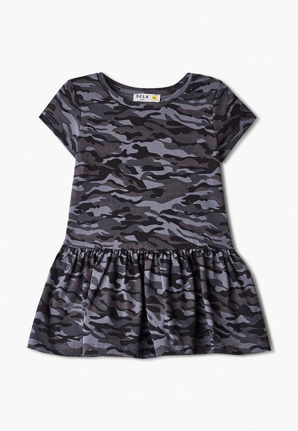 повседневные платье sela для девочки, серое