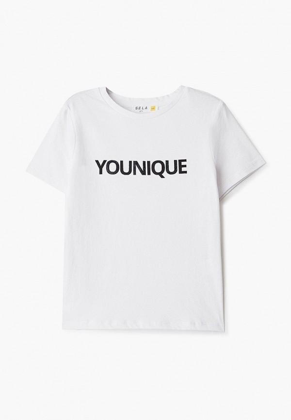 футболка с коротким рукавом sela для девочки, белая