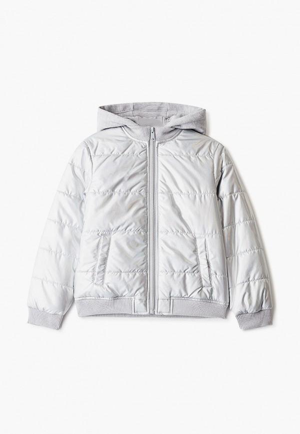 утепленные куртка sela для девочки, серебряная