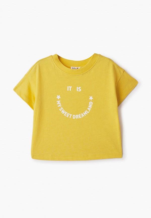 футболка с коротким рукавом sela для девочки, желтая