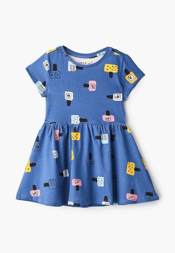 повседневные платье sela для девочки, синее