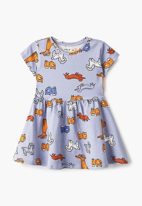 повседневные платье sela для девочки, голубое