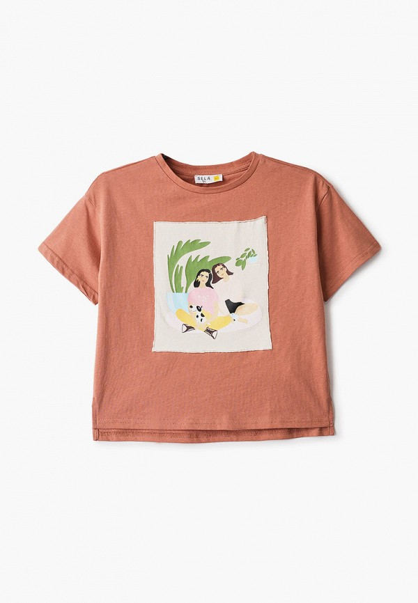 футболка с коротким рукавом sela для девочки, коричневая