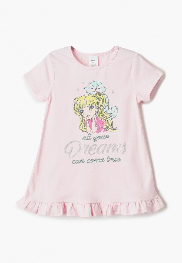 сорочка ночная sela для девочки, розовые