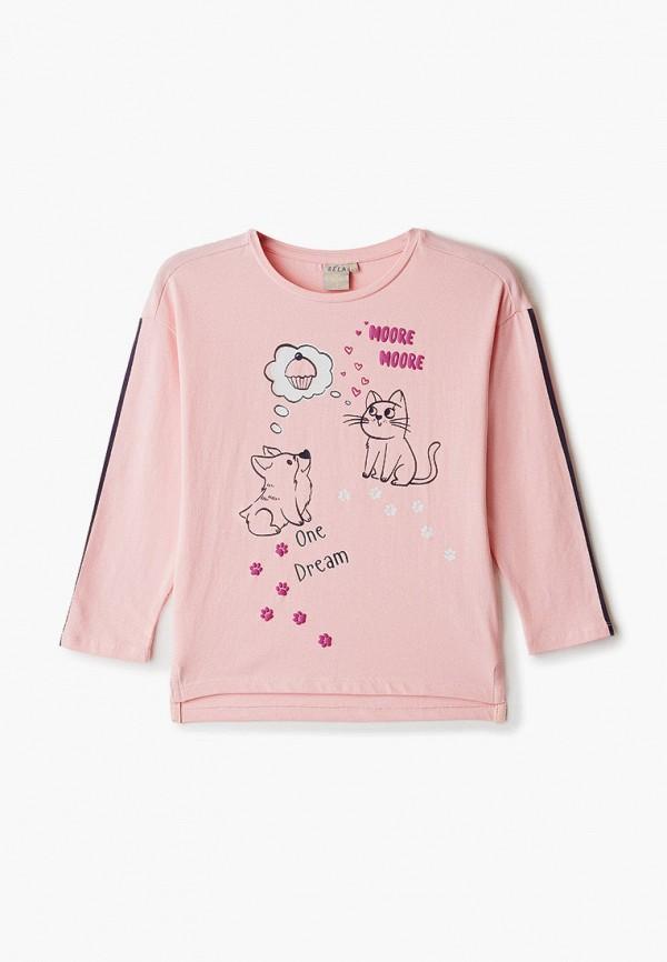 лонгслив sela для девочки, розовый