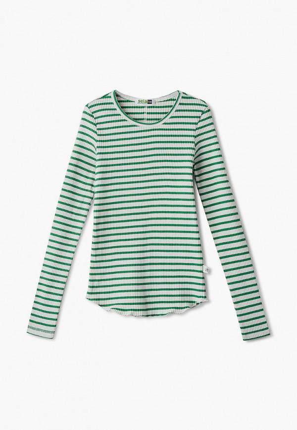 лонгслив sela для девочки, зеленый