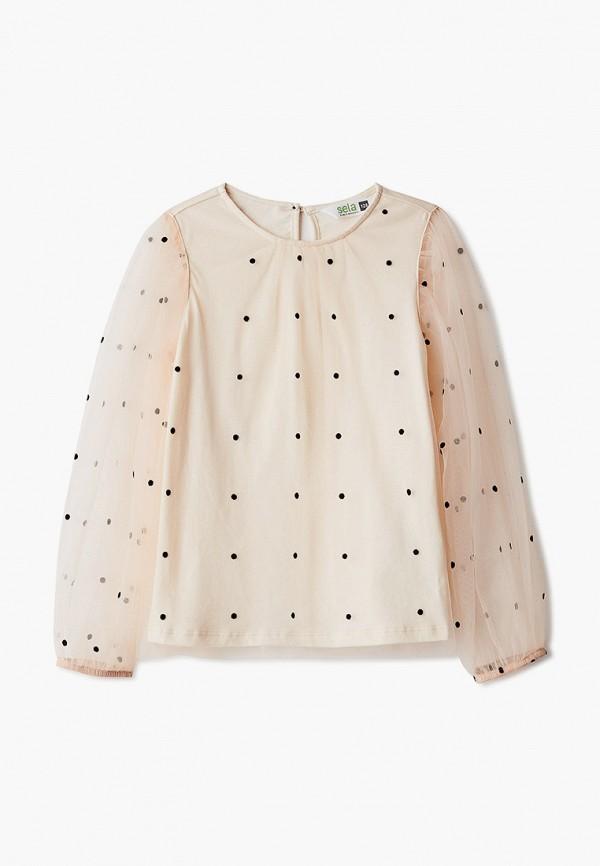 блузка sela для девочки, бежевая