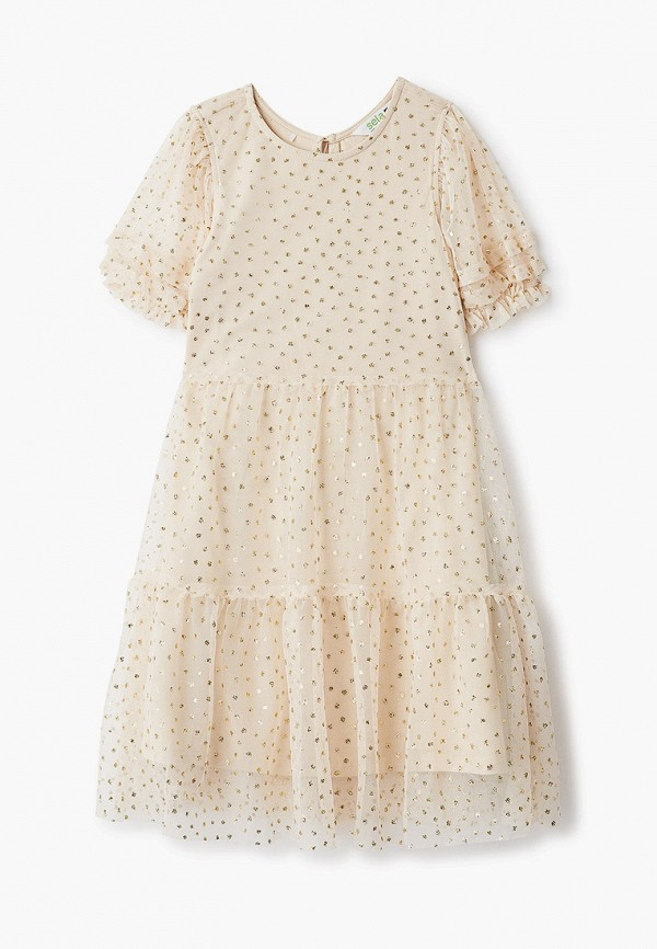 платье sela для девочки, бежевое