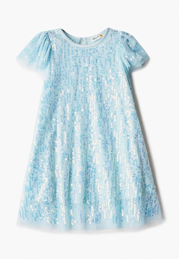платье sela для девочки, голубое