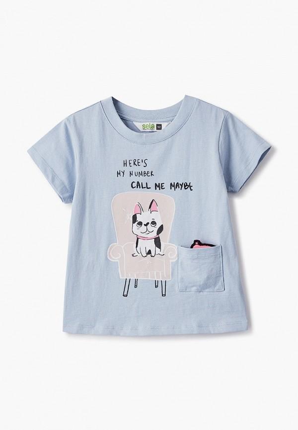 футболка с коротким рукавом sela для девочки, голубая