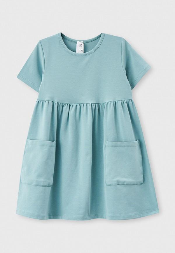 платье sela для девочки, бирюзовое