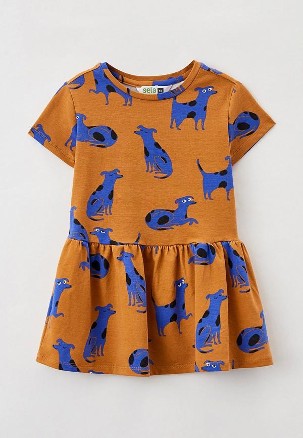 повседневные платье sela для девочки, коричневое