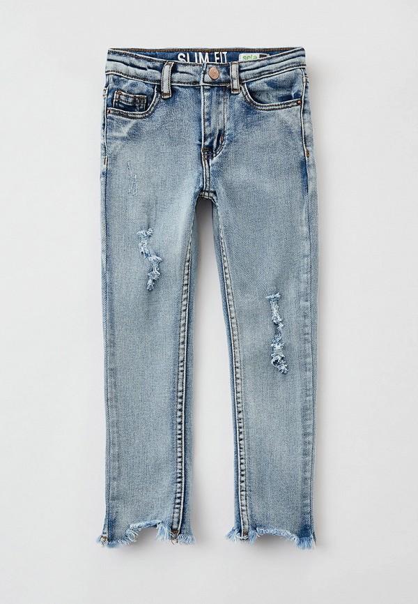 джинсы sela для девочки, голубые