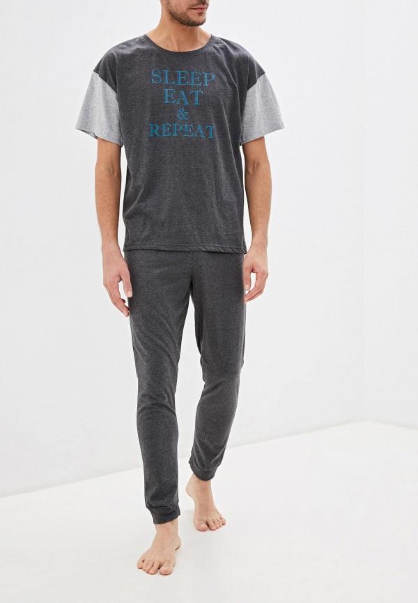 мужская пижама sela, серая