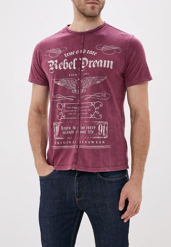 мужская футболка с коротким рукавом sela, бордовая