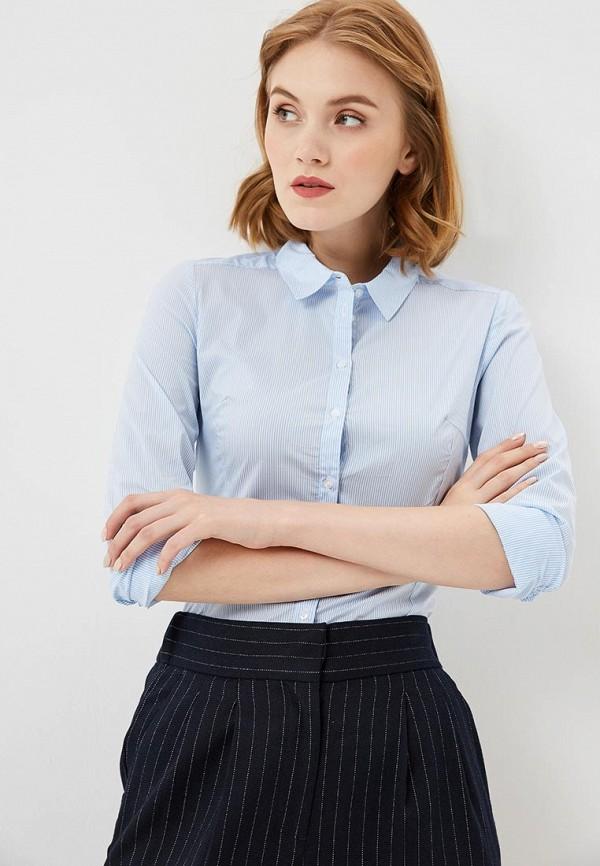 женская рубашка с длинным рукавом sela, голубая