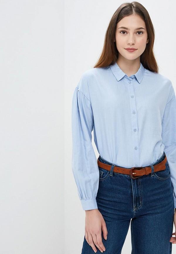 женская рубашка с длинным рукавом sela, синяя