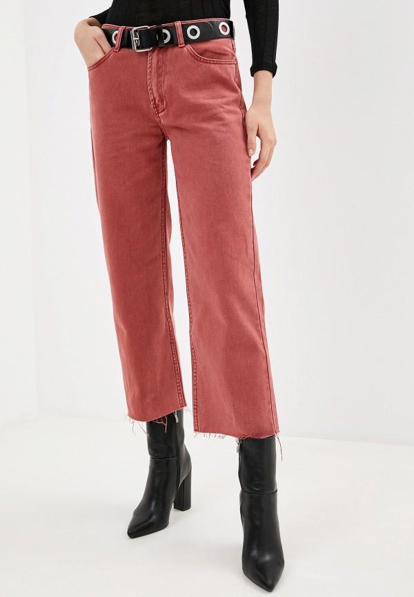 женские прямые джинсы sela, розовые