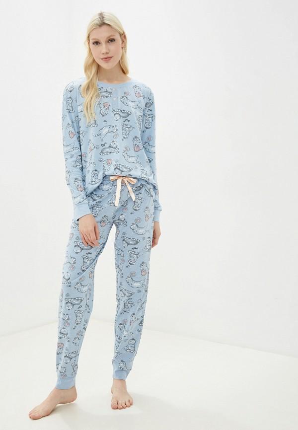 женская пижама sela, голубая