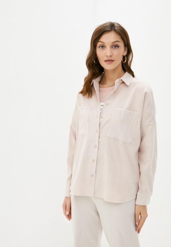 женская рубашка с длинным рукавом sela, розовая