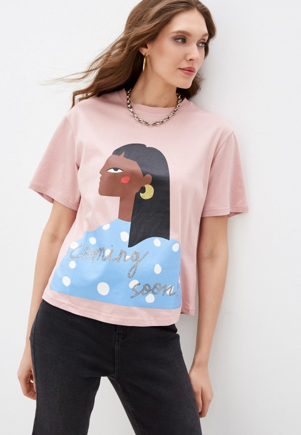 женская футболка sela, розовая