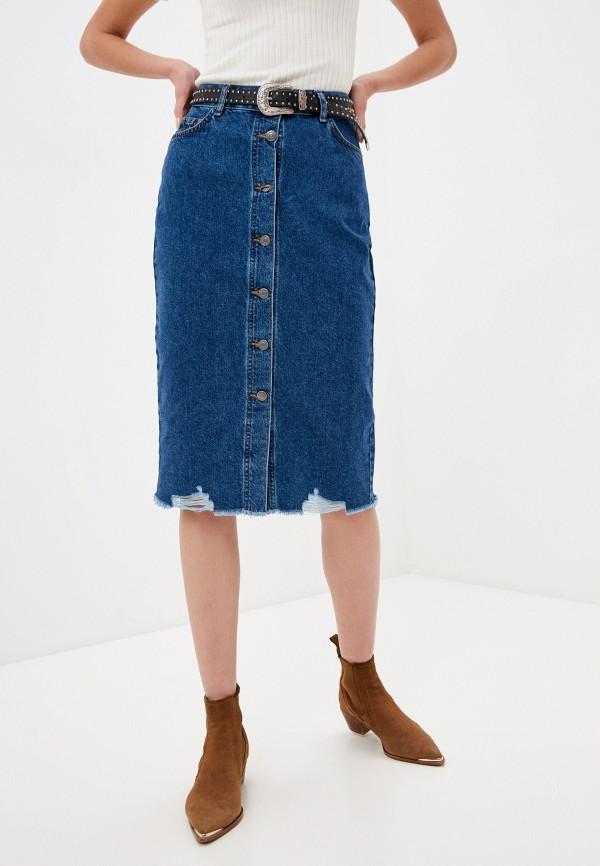 женская джинсовые юбка sela, синяя