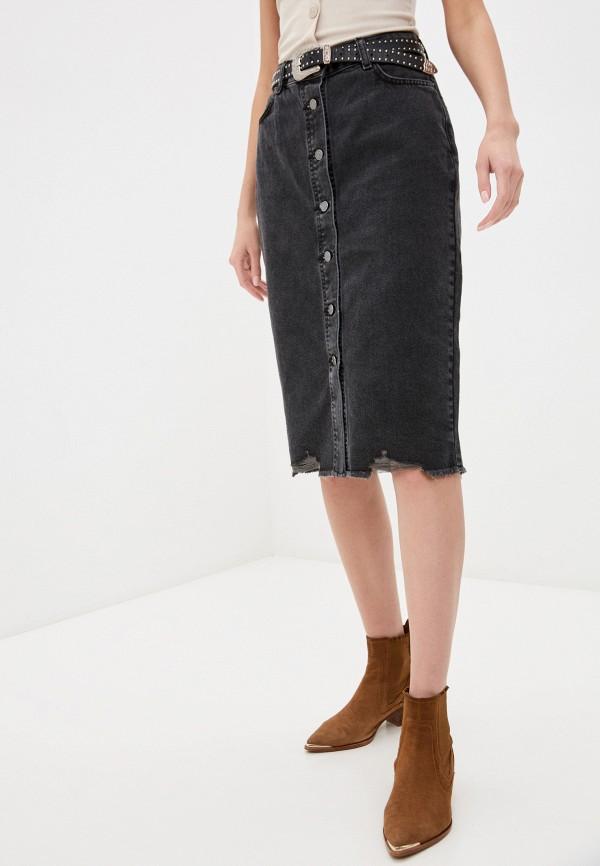 женская джинсовые юбка sela, серая