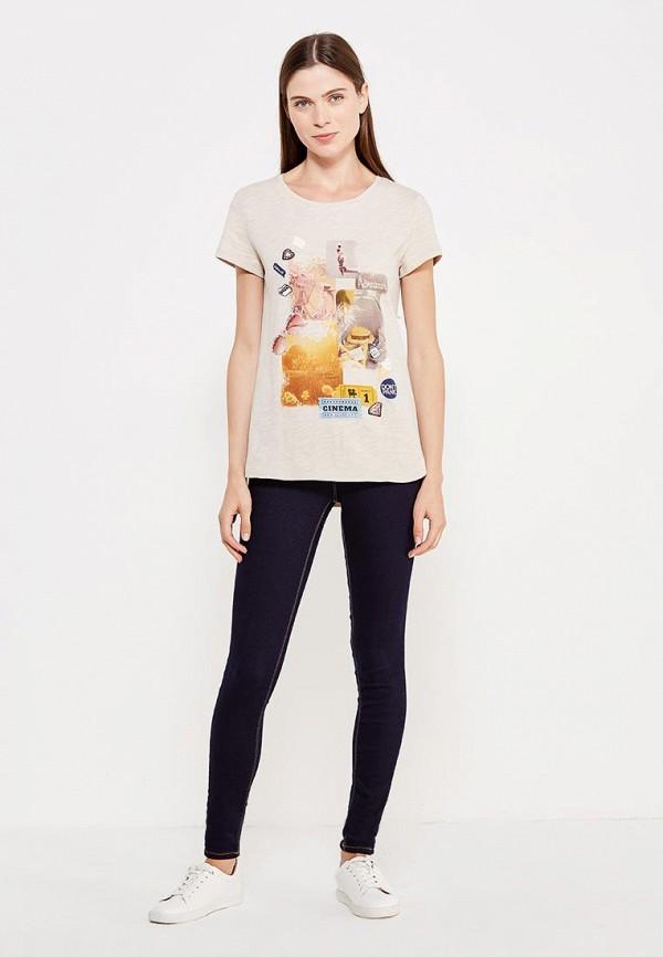 Фото 2 - женскую футболку Sela бежевого цвета