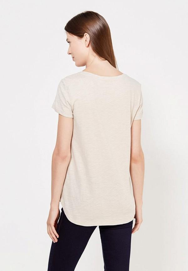 Фото 3 - женскую футболку Sela бежевого цвета