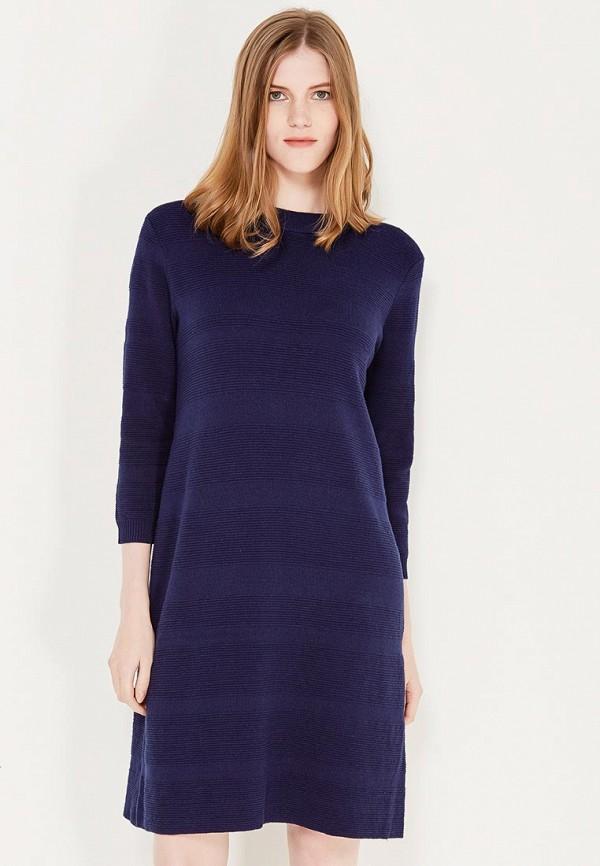 Фото - женское вязаное платье Sela синего цвета