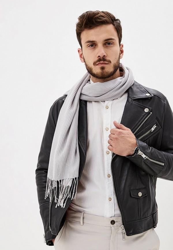 Фото 4 - мужской шарф Sela серого цвета