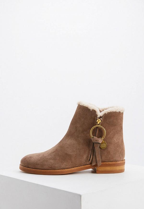 женские ботинки see by chloe, коричневые