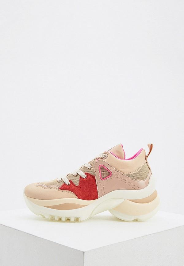 женские низкие кроссовки see by chloe, бежевые