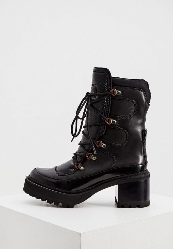 женские высокие ботинки see by chloe, черные