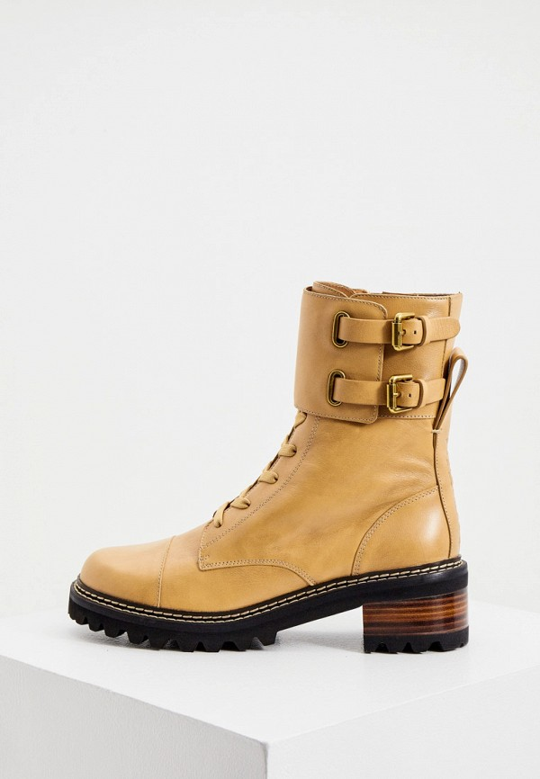 женские ботинки see by chloe, бежевые