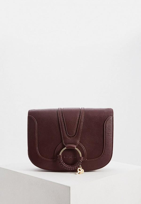 женская сумка see by chloe, бордовая