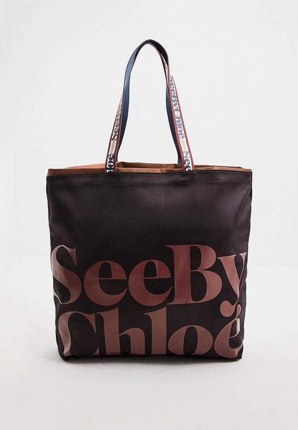 женская сумка-шоперы see by chloe, черная